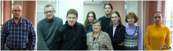 сотрудники лаборатории (слева направо): к.б.н. И.В. Борисов, д.б.н. А.В. Шелудько, студент Д.Н. Синякин, Е.М. Телешева, Л.И. Мотузко, Д.И. Мокеев, к.б.н. Ю.А. Филипьечева, к.б.н. Л.П. Петрова, С.С. Евстигнеева